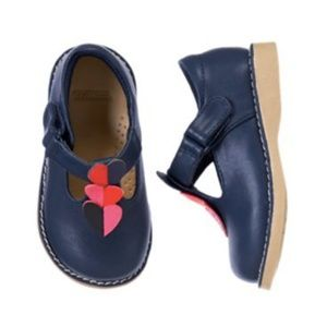 Gymboree Navy Leather T Strap Shoe with Hearts